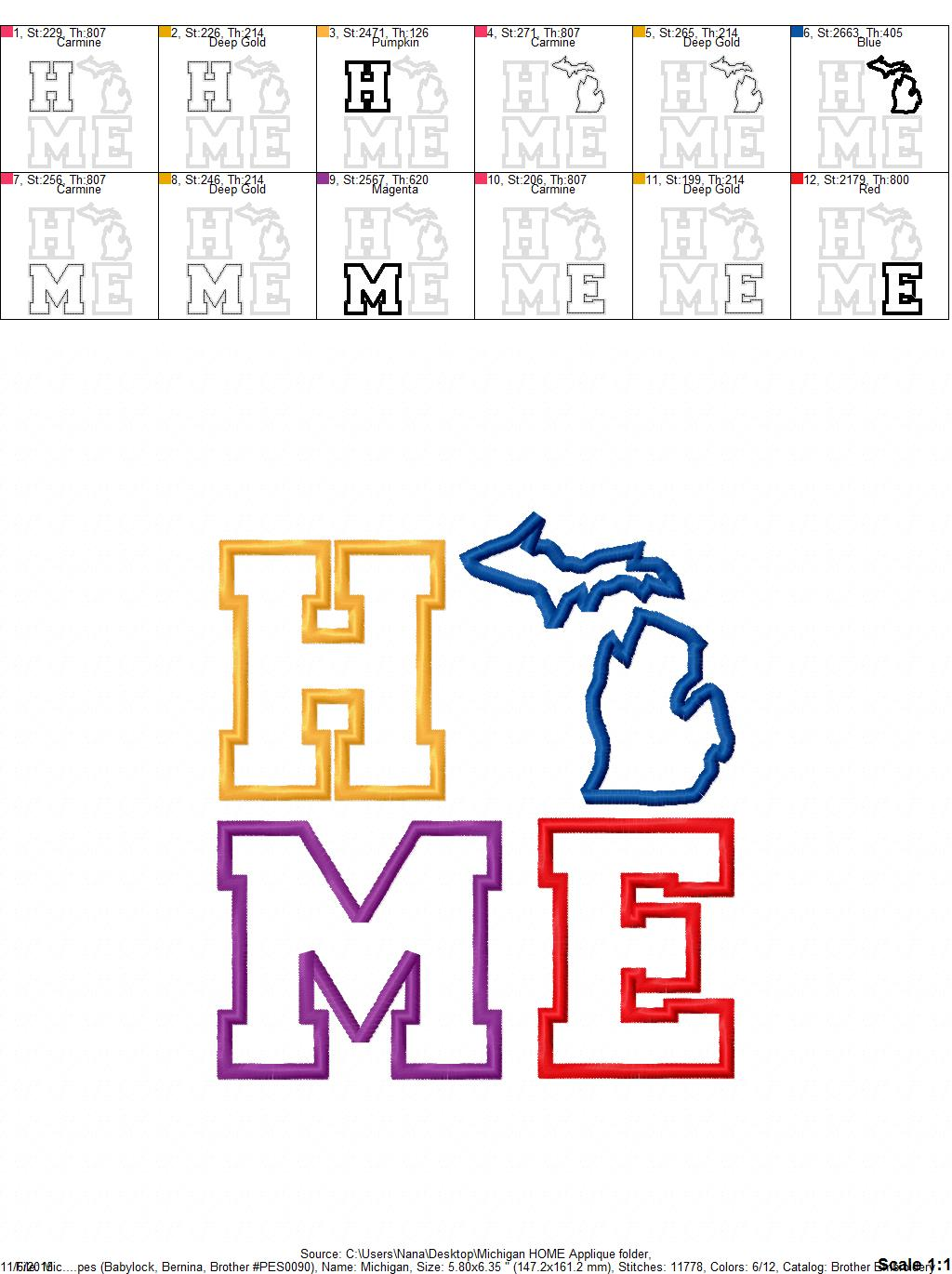 Michigan HOME Applique – Mitten – 4 Sizes Included – Embroidery ...