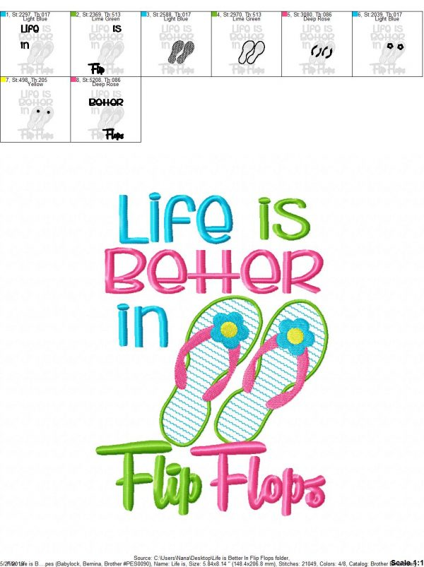 Life Is Better In Flip Flops 4 Sizes Included Digital Embroidery