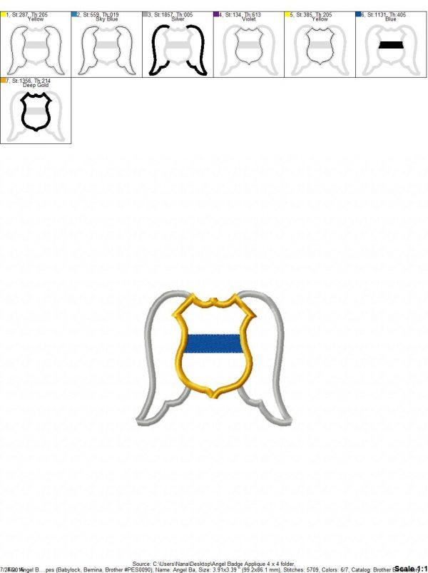 Guardian Angel Badge Wings Thin Blue Line Cop Law