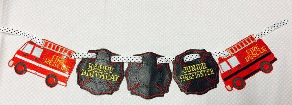 Junior Firefighter - Happy Birthday - Fire Truck Banner Design - 5 x 7 ONLY  - DIGITAL Embroidery DESIGN