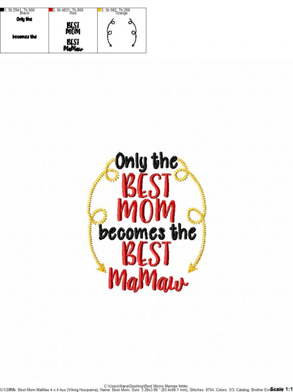 Only The Best Mom Mamaw Kitchen Towel Design 2 Sizes Included Embroidery Digital Nana S Handmade Baby Boutique
