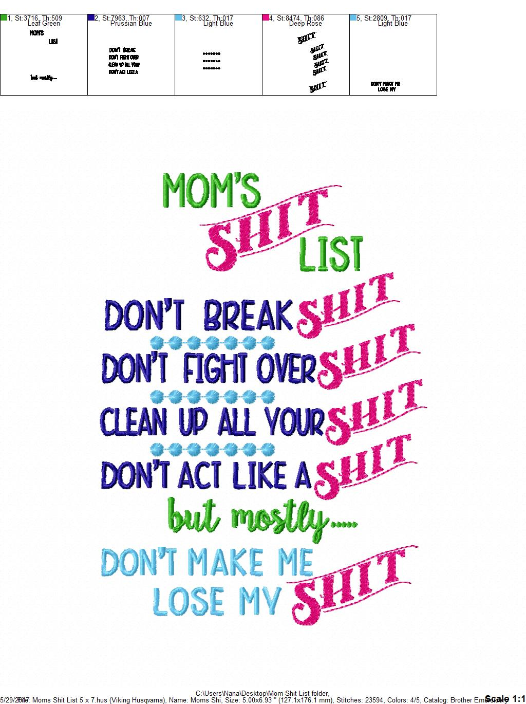 Mom\'s Shit List – Mom – Kitchen – Cooking – Towel Design – 2 Sizes ...
