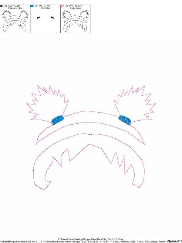 e84452102fb31 Pig Tails – Spike Hair – Headband Slip On – 5 x 7 ONLY – DIGITAL Embroidery  DESIGN