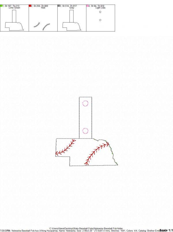 nebraska baseball/softball outline fob – in the hoop – snap/rivet key fob –  digital embroidery design