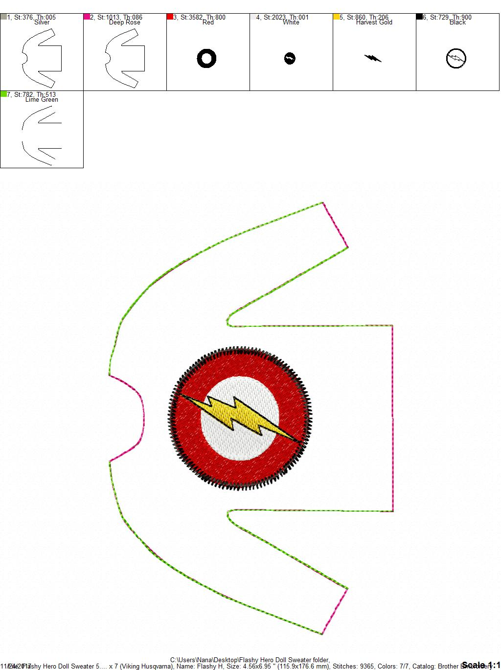 100 in the hoop flashy hero doll sweater 5 x 7 only for Embroidery office design version 7 5